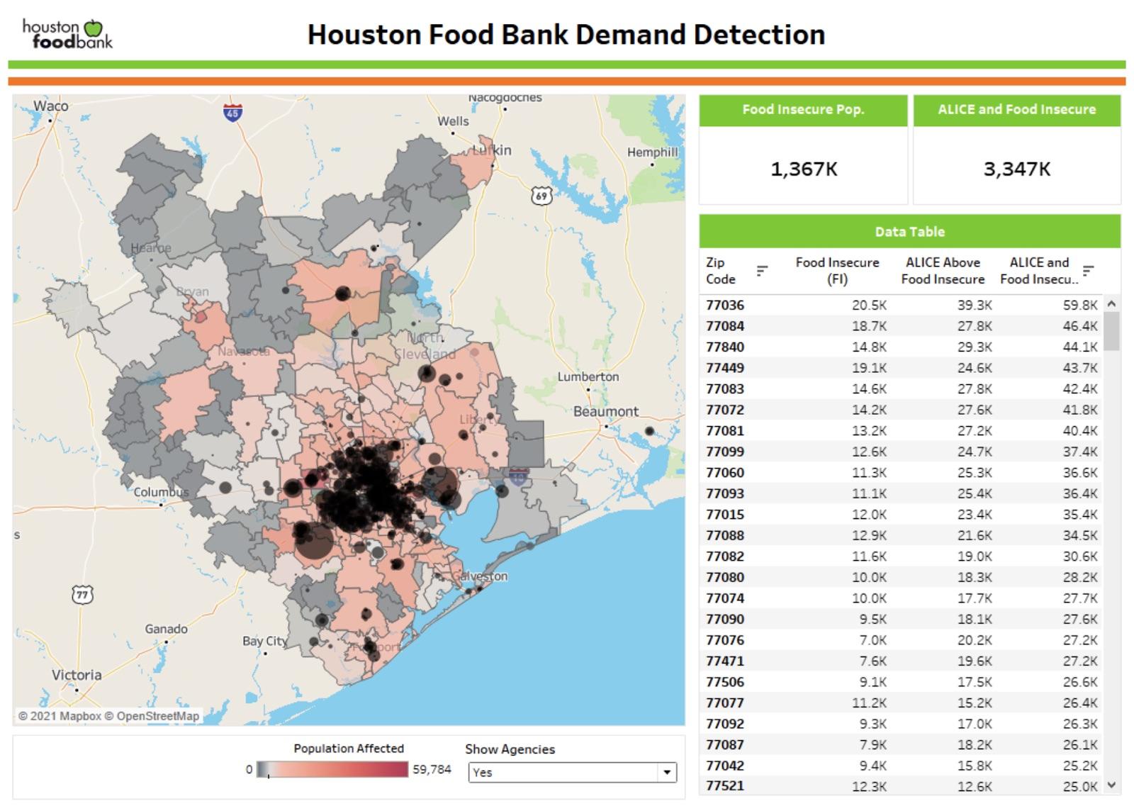 Houston Food Bank demand map
