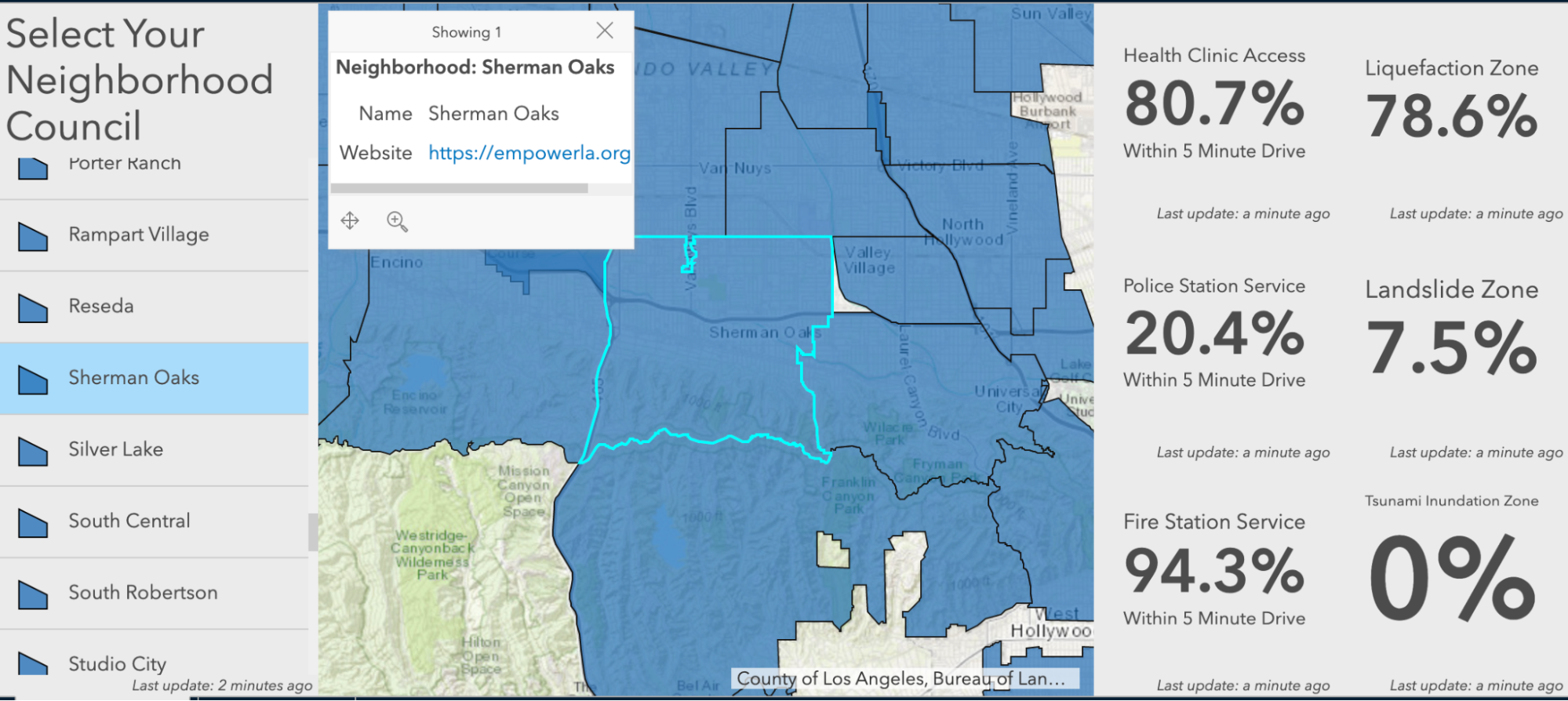 Navigable map showing county division and key statistics for the selected neighborhood
